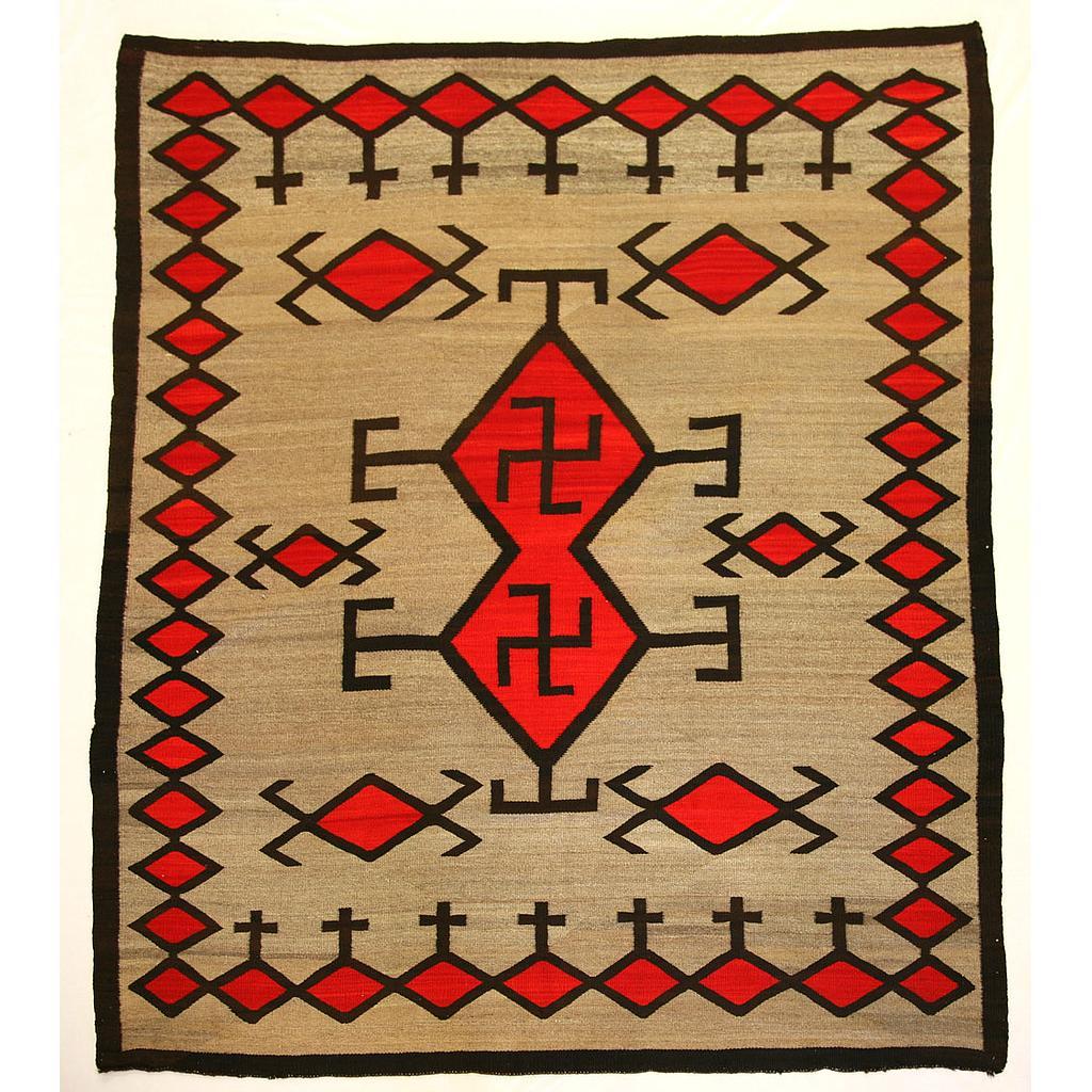 Navajo Crystal Transitional Rug With Whirling Log Symbols