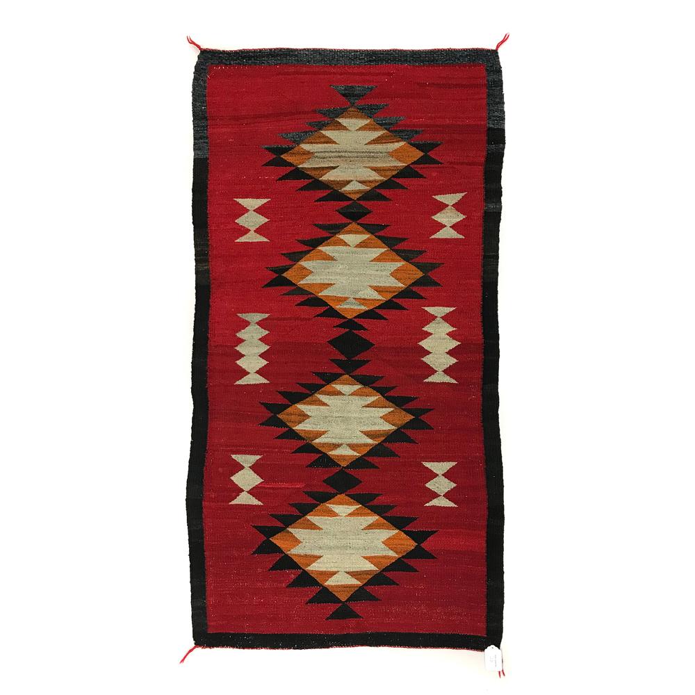"""Mexican Rug History: Navajo Ganado Rug, C. 1915, 61.5"""" X 32"""""""