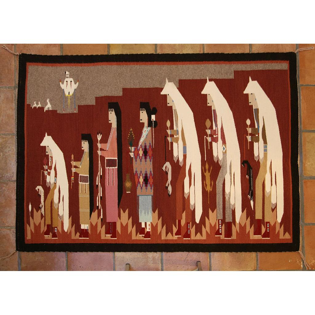 Navajo Pictorial Rug Of A Man's Initiation Ceremony, C