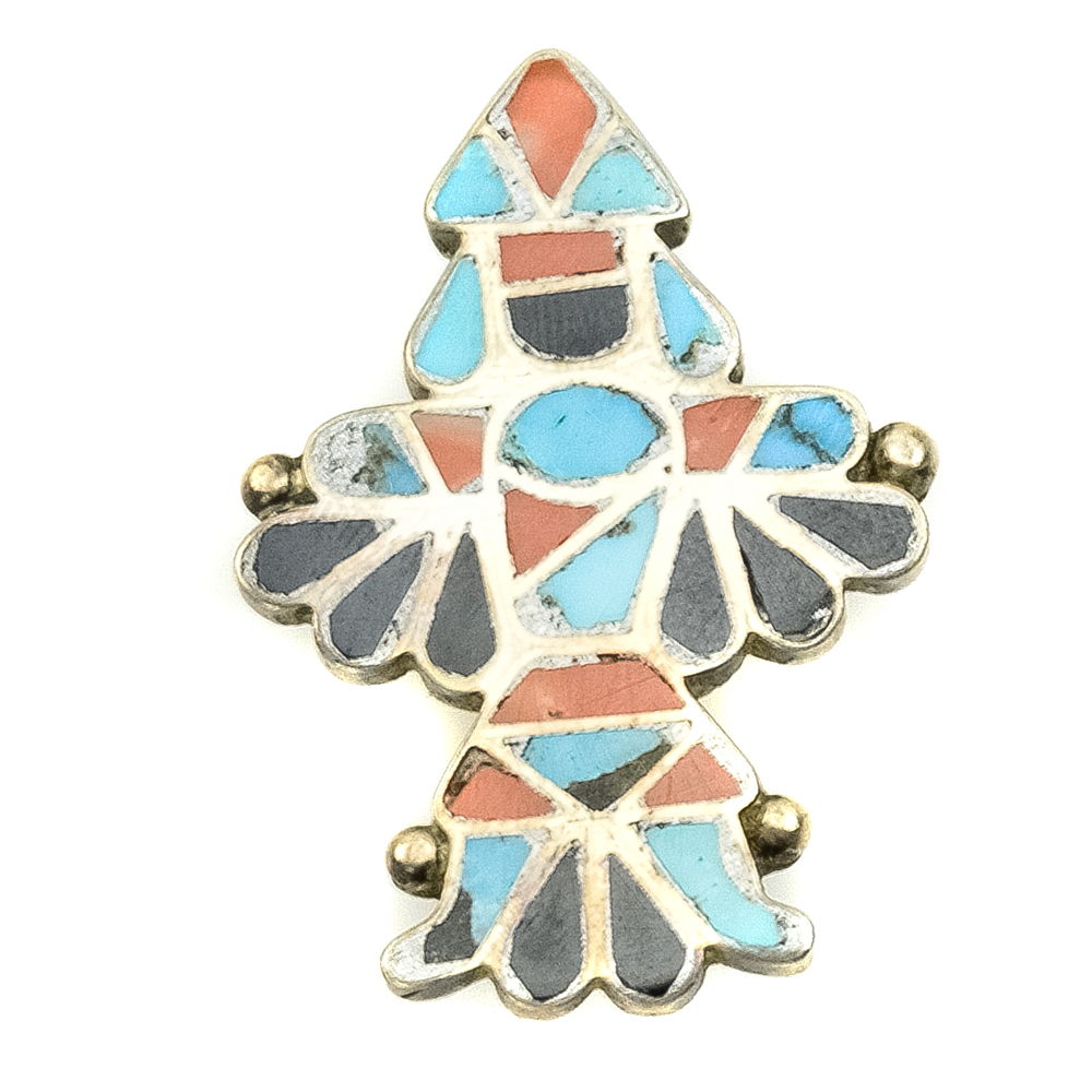 Zuni Turquoise Coral Jet And Silver Knifewing Pin C