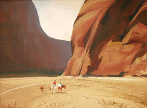 "Gerard Curtis Delano, Canyon del Muerto, Oil on Panel, c. 1945, 9"" x 12"""