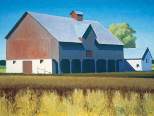 "Gary Ernest Smith, Weathered Barn, oil on linen, 36"" x 48"""