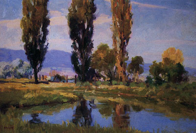 Gregory Hull, Poplar Reflection, 1997, oil, 18 x 24