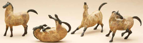 Star Liana York, mini bronze horses from Rock Art Mare collection, based on prehistoric drawings