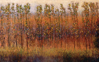 "Gary Ernest Smith, Field through New Growth, oil on linen, 30"" x 48"""