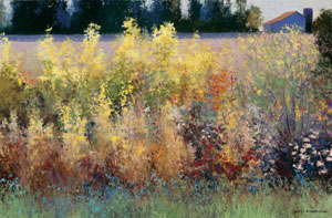 "Gary Ernest Smith, Wild Growth Between Fields, oil on linen, 24"" x 36"""