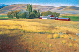 "Gary Ernest Smith, Farm in August, oil on linen, 24"" x 36"""