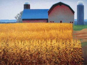 "Gary Ernest Smith, Western Cornfield with Barn, oil on linen, 36"" x 48"""