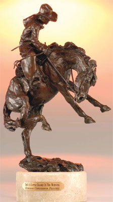 "Deborah Copenhaver-Fellows, She's a Little Cranky in the Morning, Bronze Edition of 100, 15"" x 8"" x 6.5"". This cowboy in his sunrise hat, has failed to give the proper consideration to his little mare. She's got his attention now as ""she's a little cranky in the morning."""