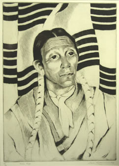 "Gene Kloss (1903-1996), Indian Singer, Etching, 1965, 13"" x 9"""