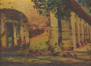 "E. A. Burbank, Mission San Juan Capistrano of California, Circa 1895-1900, Oil on Canvas on Board, 4"" x 6"""