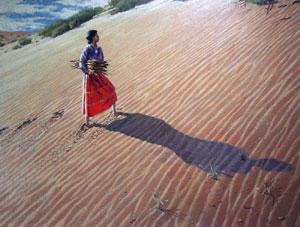"Jack Dudley, Impressions in Sand, Arizona, Oil on Panel, Circa 1975, 30"" x 40"""