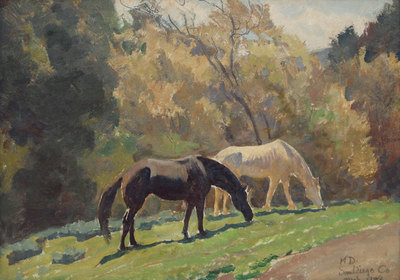 "Maynard Dixon, Horses Grazing, El Cajon, San Diego County, CA, March 1938, Oil on Canvas Board, 10"" x 14"""