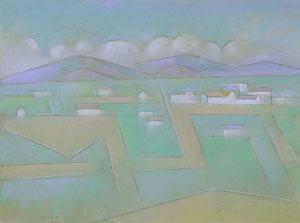 "Andrew Dasburg, Clouds Over Taos, Pastel, Circa 1976, 18"" x 24"""