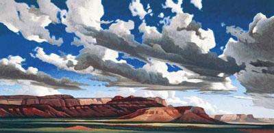 """Ed Mell, Vermillion Cliffs , Oil on Canvas, 20"""" x 40"""""""