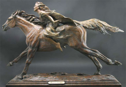 "Deborah Copenhaver-Fellows, She Flies Without Wind, Bronze edition of 25, 31"" x 43.5"" x 12"". ""Tears always rise in my eyes when I see horses perform. They arouse  passion in me that fills my imagination and touches my soul. Between a woman and a horse the elements of danger, fear and excitement give rise to the feminie spirit of unbridled independence."""