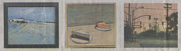 "From left, Gregory Kondos' ""Morning"" is a 1961 oil. Wayne Thiebaud sold his 1961 classic, ""Two Pie,"" for $100 to the Sacramento City College art department. Fred Dalkey portrays ""34th and R Streets"" in his 1990 oil."