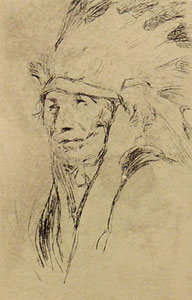 """Gerald Cassidy, Indian with Warbonnet, Etching, Circa 1920-30, 4.75"""" x 3.25"""""""
