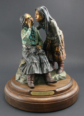 "Susan Kliewer, Girl Talk, Bronze Edition of 45, 11"" x 11"" x 13"""