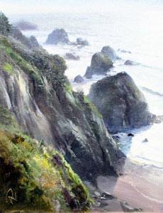 "P. A. Nisbet, Cliffs of Elk, Oil on Canvas Panel, 13"" x 10"""