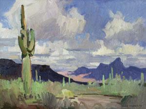"""Ray Roberts, Desert Sentry, Oil on Panel, 12"""" x 16"""""""