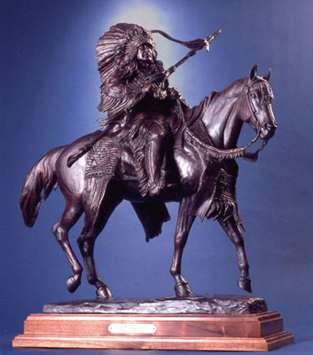 "Veryl Goodnight, American Warrior, Bronze Edition of 35, 31"" x 28"" x 18"""