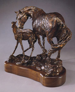 "Jan Mapes, Itchin' Post, Bronze Edition 15, 15"" x 14"" x 9"""