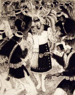 "Gene Kloss (1903-1996) Kereson Dancers, Etching, 14"" x 11"""