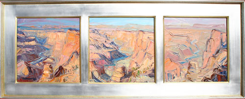 "Louisa McElwain, Desert View: Afternoon Sundown, Afternoon, Flat Time  Oil on Linen, 14"" x 14"" each panel"