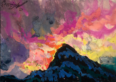 "Maynard Dixon (1875-1946) Nvorczk, Fiery Mountain, Gouache, c. 1920, 6.75"" x 9.5"""