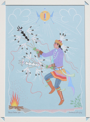 "Harrison Begay, Native Dancer #2, Gouache, 1980, 13"" x 10"""