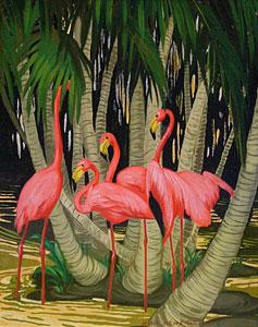 """Jesse Arms Botke, Flamingos, Oil on Canvas, Circa 1930, 11"""" x 9"""""""