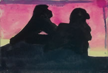 "Maynard Dixon (1875-1946) Nvorczk  Top: Ape, Gouache, 2.25"" x 3.25""  Bottom: To Hell with Darwin, Oil on Canvas, c. 1921, 10"" x 12"""