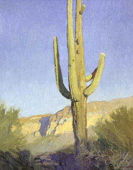 "Ray Roberts, Saguaro, Oil on Board, 20"" x 16"""