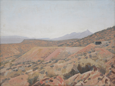 "Maynard Dixon, Randsburg, California, May 1940, Oil on Canvas Board, 12"" x 16"""