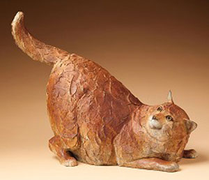 "Star Liana York, Fat Cat, Bronze, 16"" x 21.5"" x 10"""