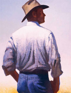 "Gary Ernest Smith, Cowboy in Morning Light, oil on linen, 30"" x 24"""