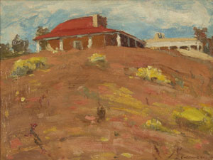 "Eanger Irving Couse, Couse's House, Oil on Canvas Board, Circa 1910, 9.5"" x 11.5"""