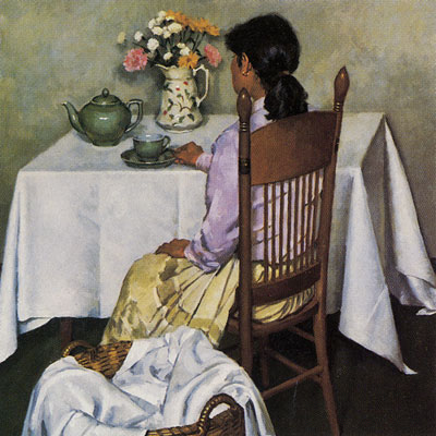 Gregory Hull, A Pause in the Day, 1984, oil, 40 x 40, Private Collection