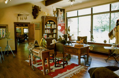Coleman's office within his studio, which is filled with Western memorabilia and artwork.