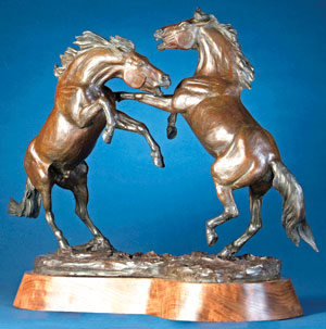 "Veryl Goodnight, Rivalry, Bronze Edition of 25, 30"" x 11"" x 24.5"""