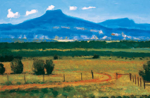 "Gary Ernest Smith, New Mexico Landscape, oil on linen, 16"" x 24"""