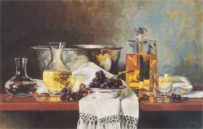 Gregory Hull, Decanters and Grapes, 1990, oil, 24 x 36, Private Collection
