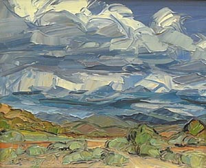 "Louisa McElwain, Chamisas & Clouds, Oil on Canvas, 16"" x 20"""