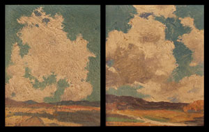 "Eanger Irving Couse, Taos Landscape, Oil on Board, Circa 1920, 6"" x 5"""