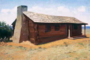 "Gary Ernest Smith, Pioneer Log Home, oil on linen, 20"" x 30"""
