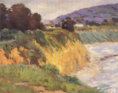 Gregory Hull, Carpenteria Bluffs, 1996, oil, 16 x 20, Private Collection