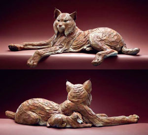 "Star Liana York, Missing Lynx, bronze, 13"" x 40"" x 24"""