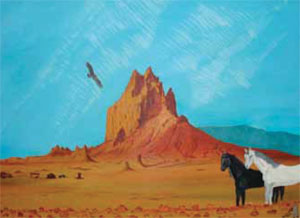 "Shiprock, Oil, 22"" x 30"" One of the last paintings done by Oreland Joe's father, Ireland C. Joe, before his death in 1976 at age 36."