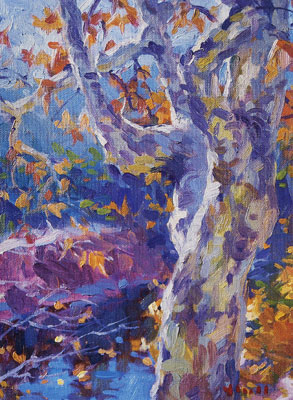 Gregory Hull, Sycamore, 1996, oil, 12 x 9